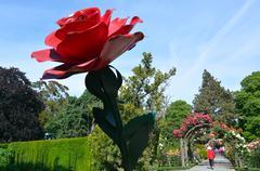 The Heritage Rose Garden in Christchurch Botanic Gardens, New Zealand Stock Photos
