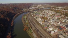 Aerial Shot Pulling Back from Beaver Falls, PA and New Brighton, PA Stock Footage