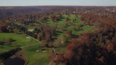 Aerial Shot Pulling Back from Beaver County Country Club Golf Course - stock footage