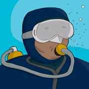 Scuba Diver Close-Up Stock Illustration