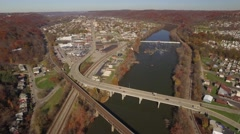 Aerial High Shot of Beaver Falls, PA - stock footage