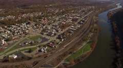 Stock Video Footage of FB0256.MP4  	Aerial Shot Moving from Patterson Heights to Downtown New Brighton,