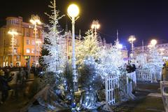 Advent decoration on Jelacic Square - stock photo