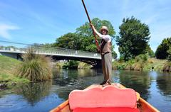 Stock Photo of Punting sailor on the Avon river Christchurch - New Zealand