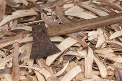 Old heavy axe tool Stock Photos