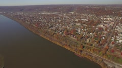 Aerial Shot of Downtown Beaver, Pennsylvania Stock Footage