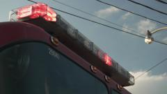 Fire Truck Siren Lights Flashing. Close Up. Stock Footage