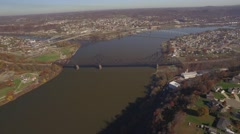 Stock Video Footage of Aerial Shot Moving Back Toward Confluence of Beaver and Ohio Rivers