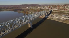 Aerial Shot Coming Back Across Rochester-Monaca Bridge Toward Flag Park in Roche Stock Footage