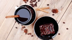 Stock Video Footage of sweet food : black fragrant coffee and chocolate cake