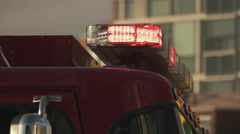 Fire Truck Siren Lights Flashing. Close Up. Side Angle Stock Footage