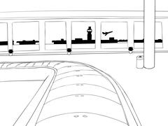 Empty Baggage Claim Outline - stock illustration