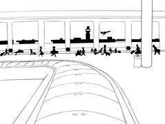 Crowd Near Baggage Claim - stock illustration