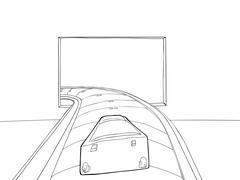 Outline of Luggage Entering Airport Stock Illustration