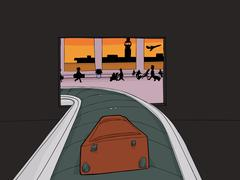 Suitcase Entering Crowded Airport - stock illustration
