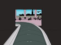 Baggage Claim Portal in Airport Stock Illustration