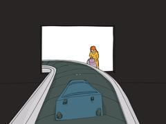 Woman at Baggage Claim - stock illustration