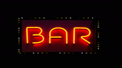 Flashing Bar Sign Surrounded By Marquee lights Stock Footage