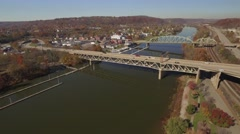 Aerial Shot Moving Toward Bridgewater, Pennsylvania Stock Footage