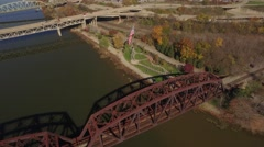 Aerial Shot of Flag Park in Rochester, Pennsylvania Stock Footage