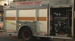 Side of Toronto Fire Truck. Close Up. Stock Footage
