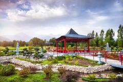 Japanese garden in Almaty Stock Photos
