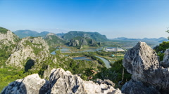 Timelapse high veiw from Khao Dang view point, with shrimp farm in pond among mo Stock Footage