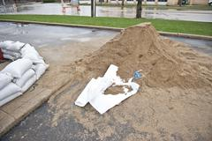 Pile Of Sand For Sandbags Stock Photos