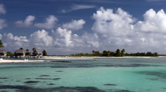 Typical Polynesian landscape - island with palm trees and small houses on water Stock Footage