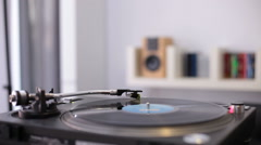 Vinyl disc turning on retro record player Stock Footage