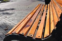 Bench in autumn square - stock photo