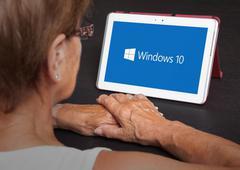HEERENVEEN, NETHERLANDS, June 6, 2015: Tablet computer with Windows 10 logo.  - stock photo