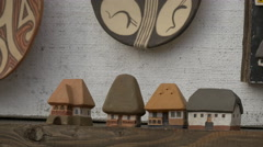Small ceramic houses for sale, Sighisoara Stock Footage