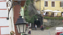 Street lamp near the Covered Stairway, Sighisoara Stock Footage