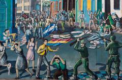 Color Painting of a civil War in Nicaragua on wall - stock photo