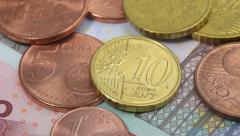 Euro bills and coins macro rotating Stock Footage