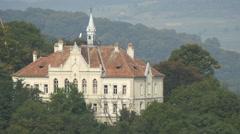 Joseph Haltrich High School on a hill in Sighisoara Stock Footage