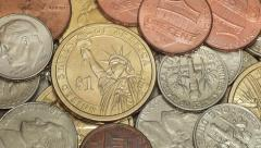 Dollar coins macro rotating - stock footage