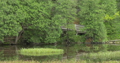 Wooden bridge over the lake at Belfountain, Canada Stock Footage