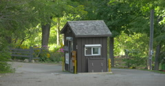 Ticketing booth at the entrance of the conservation area at Belfountain, Canada Stock Footage
