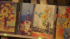 Paintings for sale, Sighisoara Stock Footage