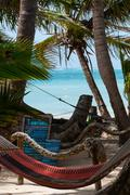 Closeup of Hammock for relax chillout Tied to Coconut Trees at the beach on - stock photo