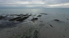 Cancale french Britain oyster bed with drone 11 Stock Footage