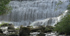 Amazing view at the bottom of the waterfall at Belfountain, Canada Stock Footage