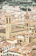 Palazzo del Bargello and Badia Fiorentina steeple, Florence, Italy Stock Photos
