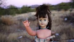 Doll Horror Hanging Handheld Close Stock Footage