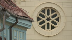 Circular window at the Roman Catholic Church Saint Joseph, Sighisoara Stock Footage