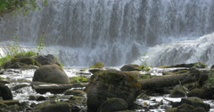 Stones and tree trunks at the bottom of the waterfall at Belfountain, Canada Stock Footage