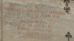 Inscriptions on the Clock Tower facade, Sighisoara Stock Footage