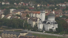The Orthodox Cathedral seen from above, Sighisoara Stock Footage